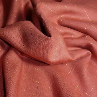 Tissu sergé de viscose carreaux terracotta lurex cuivré - Eglantine et Zoé