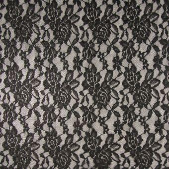 Tissu dentelle fleurie noir