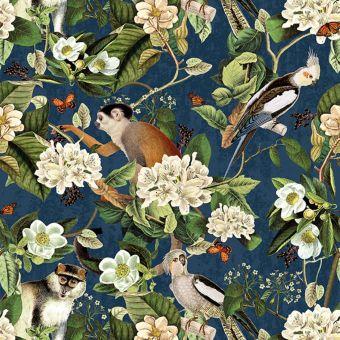 Tissu velours bleu imprimés fleurs, singes et aras