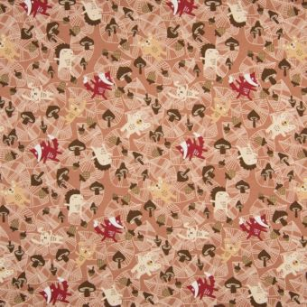 Tissu jersey à motifs animaux forêt terracotta