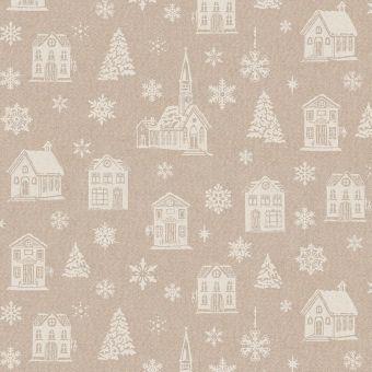 Tissu de Noël coton épais brillant maison et neige