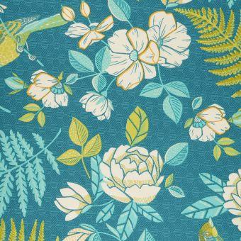 Tissu coton épais oiseaux fleurs