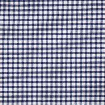 Tissu coton vichy marine et blanc