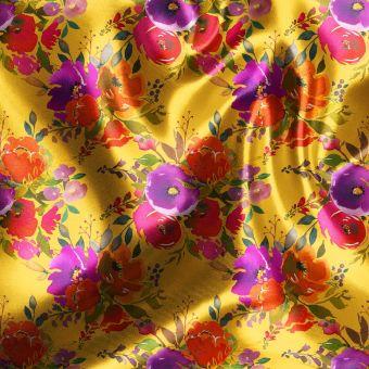 Tissu satin recyclé bouquets de fleurs jaune - Panda Love