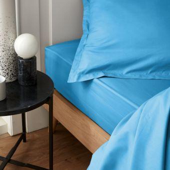 Drap housse percale bleu 140 x 190 cm