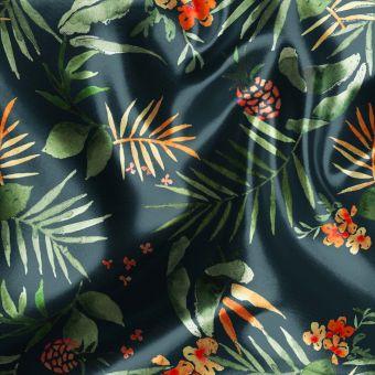 Tissu satin recyclé herbiers tropicaux vert - La Panda Love Fabrics