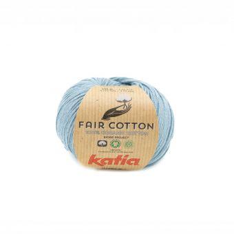 Fil à tricoter bio Katia Fair Cotton bleu gris
