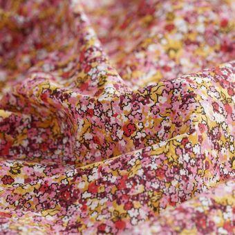 Tissu coton percale bio fleuri rouge