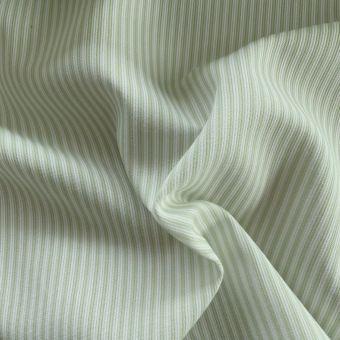 Tissu piqué de coton motifs rayures vert
