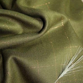 Tissu sergé de viscose carreaux vert kaki lurex cuivré - Eglantine et Zoé