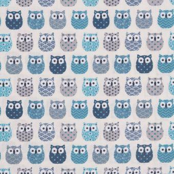 Tissu coton enduit mini hiboux bleu
