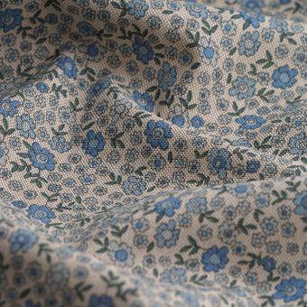 Tissu coton épais petites fleurs bleues
