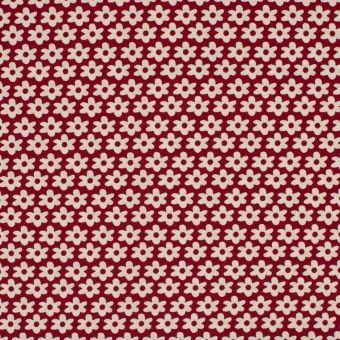 Tissu popeline coton fleur bordeaux