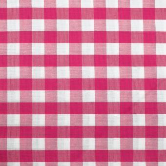 Tissu popeline coton motif vichy 10mm fuchsia
