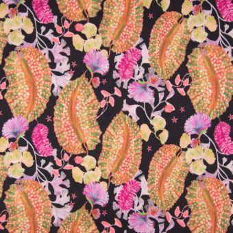 Tissu crêpe de polyester noir, orange et rose motifs flore océane