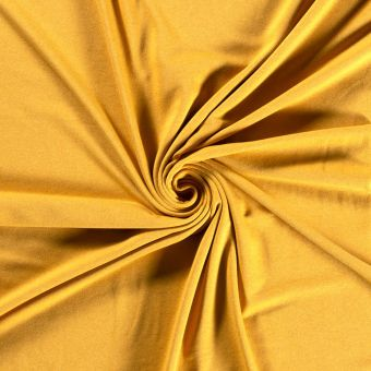 Tissu molleton sweat French Terry bio et recyclé jaune moutarde