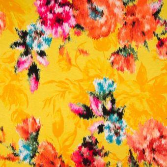 Jersey viscose roses jaune