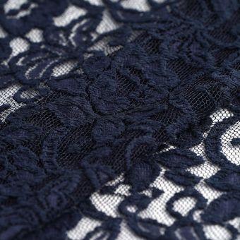 Tissu dentelle poly coton bleu marine fleurs
