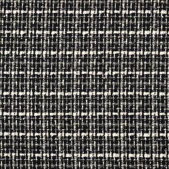 Tissu tweed écru et noir