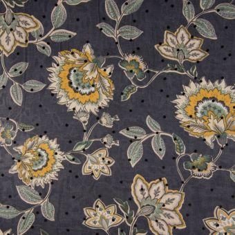 Tissu satin polyester flock floral bleu marine