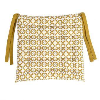 Galette de chaise sphère jaune curry