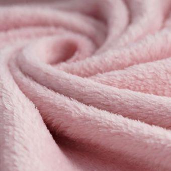 Tissu douillette uni rose poudré
