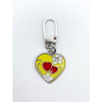 Tirette fantaisie metal coeur jaune