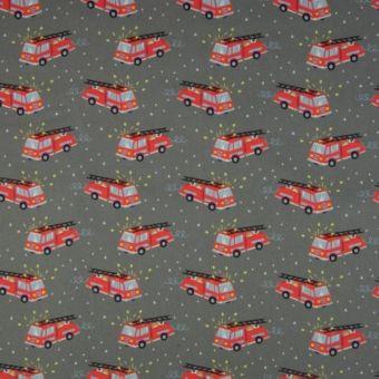 Tissu popeline coton à motifs camions pompiers gris