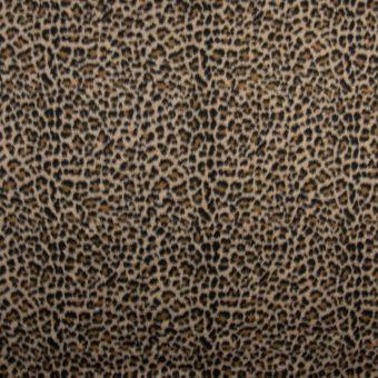 Tissu lainage polyester laine léopard marron