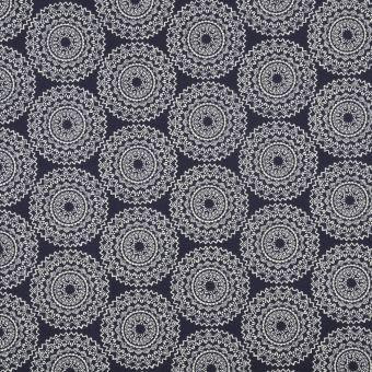 Tissu coton imprimé mandala marine