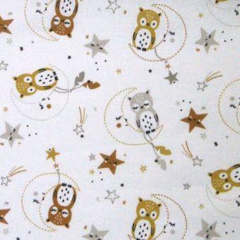 Cretonne de coton blanche à motifs hiboux et lunes