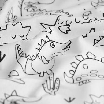 Tissu coton à colorier imprimé dinosaures