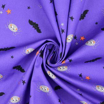 Tissu coton chauve souris violet