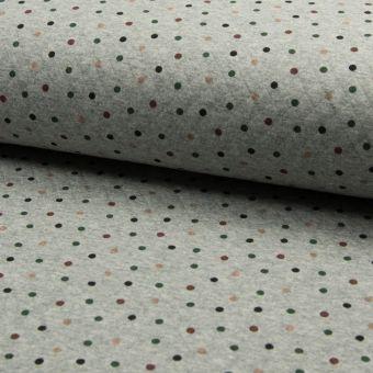 Tissu jersey matelassé en coton gris à pois multicolores
