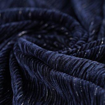 Tissu velours maille brillante bleu marine
