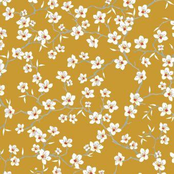 Tissu cretonne de coton jaune safran imprimé fleurs d'amandier blanches