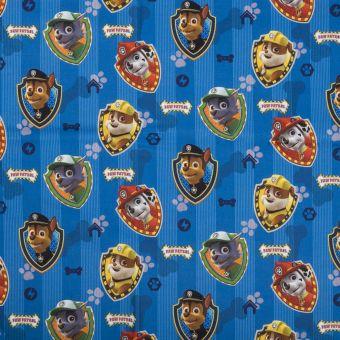 Tissu coton Pat' Patrouille rayures bleu