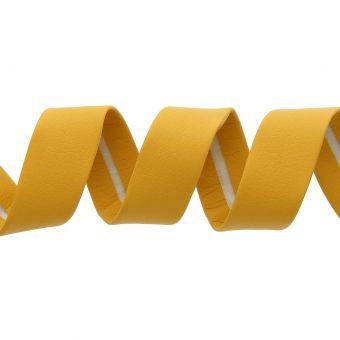 Biais simili cuir 20 mm jaune moutarde