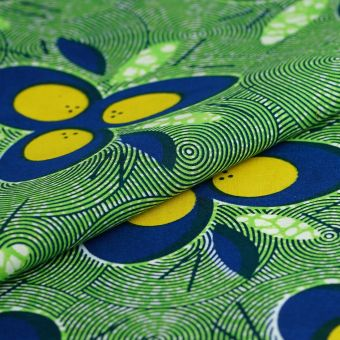Tissu wax fleurs jaunes et bleus