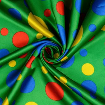Tissu satin carnaval à pois vert