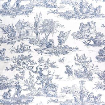 Tissu coton toile de Jouy romantique bleu