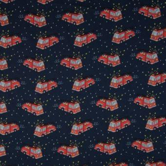 Tissu popeline coton à motifs camions pompiers bleu marine