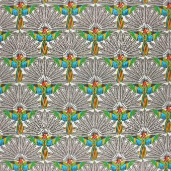 Tissu coton imprimé perroquets sur fond blanc