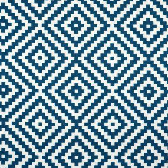 Tissu toile extérieure imprimé géométrique bleue