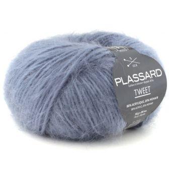 Pelote de fil à tricoter tweet bleu foncé - Plassard