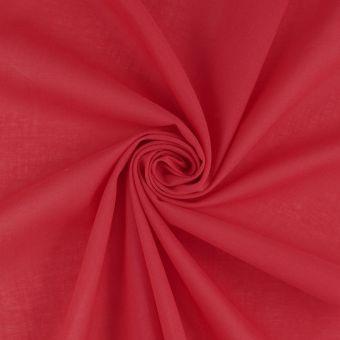 Tissu voile de coton uni rouge