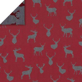 Tissu jacquard Noël rennes rouge