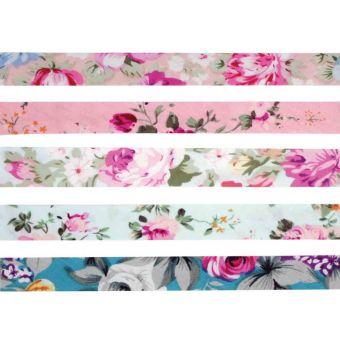 Lot 5 biais coton 1cm x 1m fleurs pastel