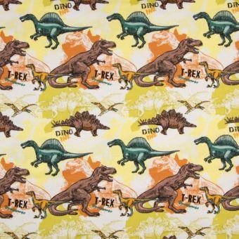 Tissu jersey à motifs dinosaures jaune