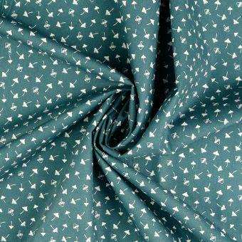 Tissu popeline de coton vert gris à motifs champignons